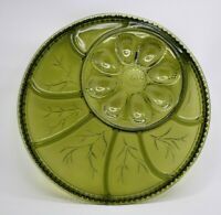 Vintage Indiana Green Glass Deviled Egg Relish Serving Plate Platter Tray 12.75""