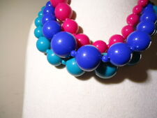 """SET OF 3 NEW OLD STOCK PLASTIC STRETCH NECKLACES BLUE PINK TEAL SOLID BEADS 15"""""""