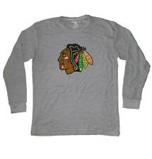 YOUNG MEN'S CHICAGO BLACKHAWKS LONG SLEEVE GREY TEE T-SHIRT, LARGE NEW!