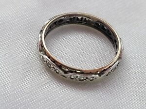 Vintage Antique Art Deco silver & 9ct Gold Paste eternity band ring size R