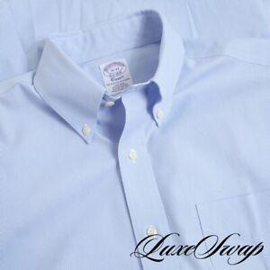 NWT Brooks Brothers CLASSIC White Sky Blue Mini Houndstooth Dress Shirt 15 33 NR
