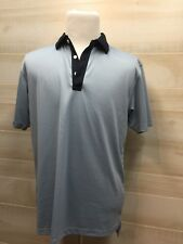 Men's DUNNING Polo Golf Shirt L Solid Navy Blue Large Polyester