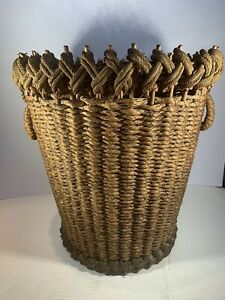 RARE Antique Trash Can Wicker / Rope Antique Wastebasket