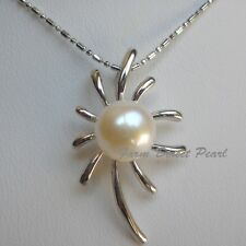 """Huge 11mm Genuine Cultured Freshwater White Pearl Pendant Necklace 18"""" Flower"""