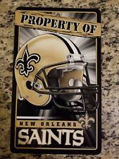 "NEW ORLEANS SAINTS ""PROPERTY OF"" SIGN WALL DECOR DURABLE POSTER NFL LICENSED"