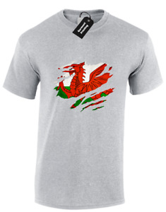WELSH FLAG CHEST SLASHED MENS T SHIRT WALES PATRIOT PRIDE RUGBY FOOTBALL FAN TOP