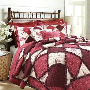 Pineiro Red Floral Real Patchwork 100%Cotton Quilt Set, Bedspread, Coverlet