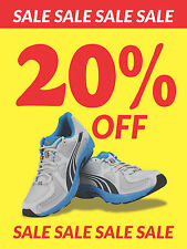 "Sale 20% Off Apparel Footwear Retail Display Sign, 18""w x 24""h, Full Color"
