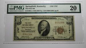 $10 1929 Springfield Kentucky KY National Currency Bank Note Bill Ch. #1767 VF20