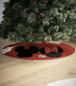 Disney Mickey Minnie Mouse Christmas Tree Skirt Decoration ornament Red Santa