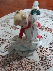Howard Holt Japan Angel Boy Playing Cello Candle Holder