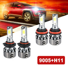 2Pair 9005 + H11 Headlight LED Car Converstion Hi/Lo Beam Fog Light 9500KHB3 H8