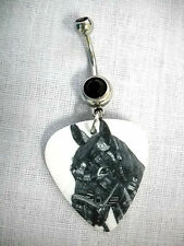 BLACK ON WHITE EQUESTRIAN HORSE HEAD DESIGN PRINTED GUITAR PICK 14g BELLY RING
