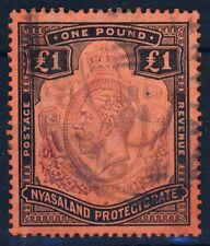 NYASALAND KG V 1914-1921 £1 Purple & Black on Red Paper SG 98 VFU