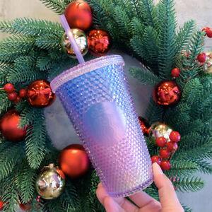 2020 China Starbucks Aurora Gradient Blue Pink Studded 16oz Tumbler Straw Cup
