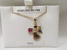 JULY: Sterling Silver Birthstone Guardian Angel. Birthday present.  Necklace