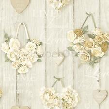 Grandeco Vintage Hearts Wood Beam Pattern Rose Floral Motif Wallpaper (Cream A14501)