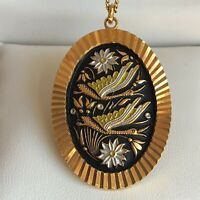Vintage Damascene Enamel Pendant Necklace Flowers Geese Design Gold Tone Retro