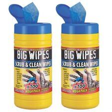 [2 Pack] Big Wipes Industrial Antibacterial Scrub Heavy Duty Hand Cleaning Wipes