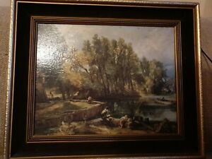 Old John constable The Young Waltonians  print with oil painting on top ,framed