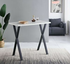 1 X Rectangular FAUX Marble Grey Bar Table With X-Shaped Legs