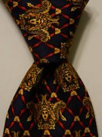 ROCHAS PARIS Men's 100% Silk Necktie EUROPE Luxury Novelty Blue/Yellow EUC Rare