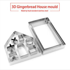 10x 3D Gingerbread House Cookie Cutter Stainless Steel Christmas Biscuit Mold UK