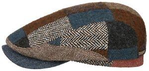 Stetson Flatcap Cap Driver Cap Belfast Patchwork Wool 62 New Trend