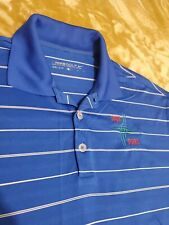 Nike Golf Dri fit mens golf polo shirt size LARGE blue striped polyester