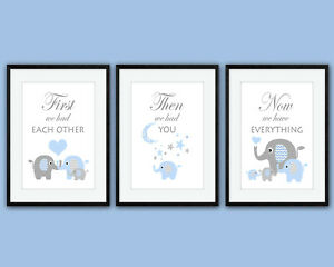 First We Had Each Other, Family of 4 Elephants, 3 Wall Art Nursery Prints,