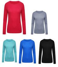 Ladies Ex-M&S Long Sleeve Easy Care Plain T-Shirt/Top (Various Colours & Sizes)
