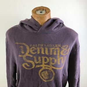 RALPH LAUREN Graphic Pullover Purple Hooded Sweatshirt Hoodie Men's Size M