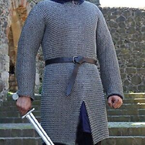 Round Riveted With Flat Warser Chainmail shirt 6 large Size full sleeve Hubergio