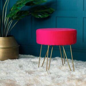 Hot Pink Velvet & Gold Round Stool Metal Hairpin Legs Upholstered Seat