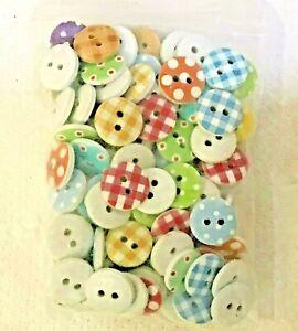 "Pkg of 50 Plastic Buttons 1/2"" (13mm) Craft Scrapbook Mixed Colors"
