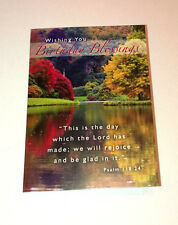 "BIRTHDAY BLESSINGS Mini A7 4x3"" Christian Faith GREETINGS CARD Ps 118:24 LAKE"