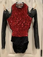 Weissman Black Red Sequin Cold Shoulder Leotard Dance Costume Size LC Pre-Owned