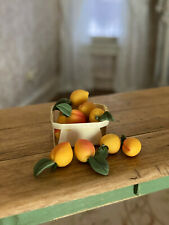 Vintage Miniature Dollhouse 1:12 Realistic Dozen Sculpted Peaches Leaves Basket