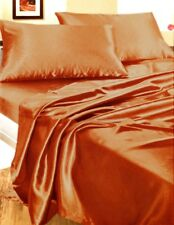 Completo matrimoniale raso rame set letto federa lenzuola angoli elasticizzati