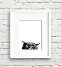 Angry Black Cat Art Print Watercolor Painting