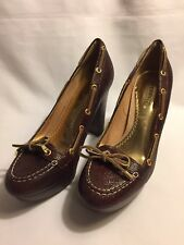 SPERRY TOP SIDER WOMEN'S BROWN LEATHER HIGH HEEL PLATFORM SHOES SIZE 8 M