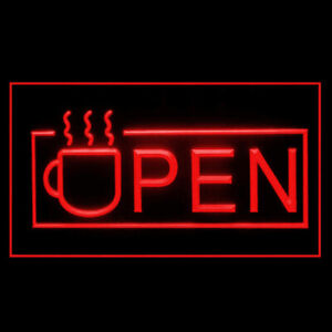 110091 OPEN Coffee Cup Lounge Cafe Kona Classic Display LED Light Neon Sign