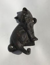 Cast Metal Cat Shaped Coat Hook Vintage Towel Kitty Feline Patina Keys