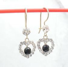 Black Onyx Clear CZ Heart Dangle Earrings Real Solid 14K Yellow Gold