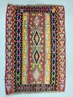 Small Vintage Turkish Kilim 140x96 cm Wool Kelim Rug Red Black Pink Blue green