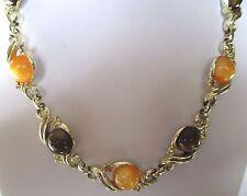 collier bijou vintage couleur or cabochon marron orangé cristal citrine 392