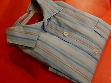 Tommy Bahama Mens Large  Button Up Long Sleeve Blue Striped Cotton Shirt (B1018)