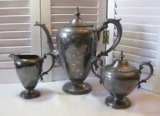Wallace Silverplate Coffee Pot Creamer & Covered Sugar Bowl Set V9655 Vintage