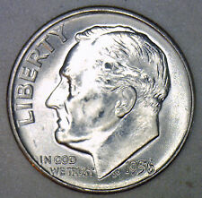 1956 D Silver UNCIRCULATED BU Roosevelt Dime Ten Cent Coin from Nice 10c Roll #R
