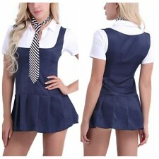 2Pcs Womens SchoolGirl Costume Sexy Uniform Fancy Shirt Short Mini Dress+Necktie